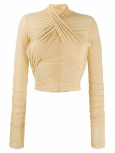 Unravel Project stretch smocked top - NEUTRALS