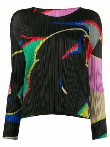 Pleats Please Issey Miyake micro-pleated abstract top - Black