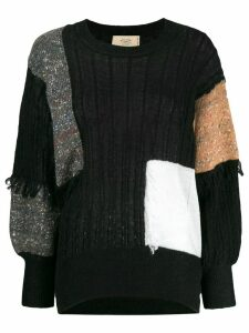 Maison Flaneur panelled colour-blocked jumper - Black