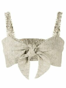 Venroy cropped tie-front top - Brown