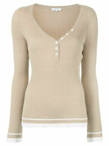 Venroy button down neck jumper - Brown