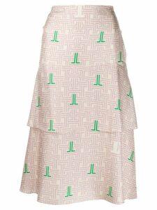 LANVIN JL monogram print skirt - NEUTRALS