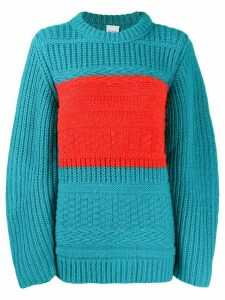 Paul Smith stripe detail chunky knitted jumper - Blue