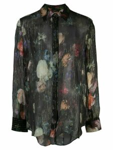Adam Lippes floral print sheer shirt - Black