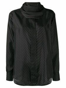 Victoria Beckham draped neckline polka-dot blouse - Black