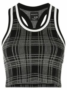 Nagnata Retro Check Racer crop top - Black