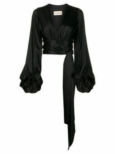 Alexandre Vauthier silk wrap front blouse - Black