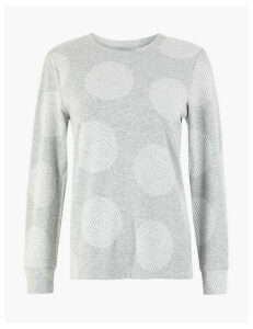 M&S Collection Cosy Polka Dot Straight Fit Sweatshirt