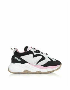 MSGM Designer Shoes, Black & Pink Attack Sneakers