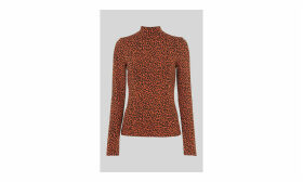 High Neck Animal Jacquard Top