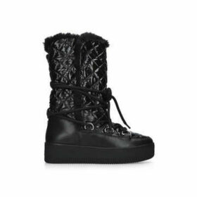 Carvela Techno - Black Patent Quilted Snow Boots
