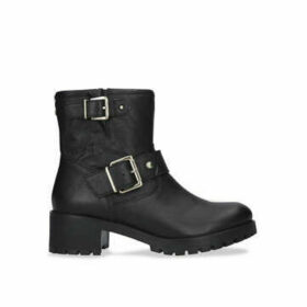 Carvela Shotgun - Black Leather Buckle Ankle Boots