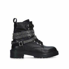 Carvela Tuxedo - Black Biker Boots With Embellished Strap