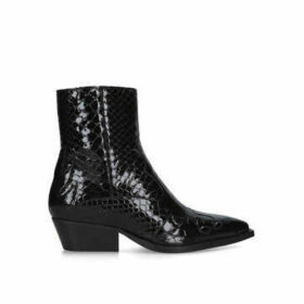 Kurt Geiger London Delta - Black Patent Western Style Ankle Boots