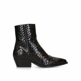Kurt Geiger London Delta - Wine Patent Western Style Ankle Boots