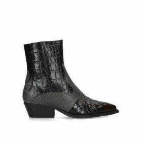 Kurt Geiger London Delta - Black Western Style Ankle Boots