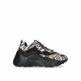 Steve Madden Antonia - Black Chunky Trainer With Animal Print Features