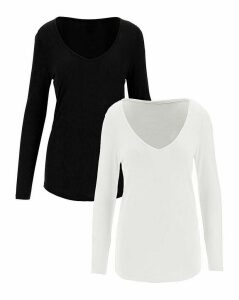 2 Pack Long Sleeve Deep V Neck Top