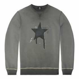 Distressed Faded Dye Long-Sleeve Crew