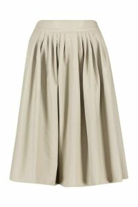 Womens Leather Look Pleated Midi Skirt - Beige - L, Beige