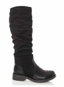 Womens *Quiz Black Faux Suede Ruched Knee Boots, Black