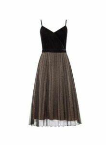 Womens Luxe Black Velvet Sparkle Cami Dress, Black