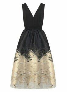 Womens **Little Mistress Black Jacquard Midi Dress, Black