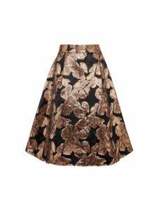 Womens Luxe Bronze Printed Jacquard Skirt - Brown, Brown