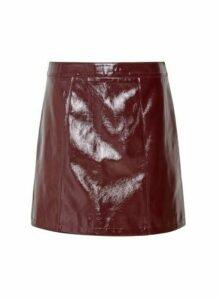 Womens **Lola Skye Burgundy Vinyl Skirt- Red, Red