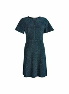 Womens Teal Keyhole Fit And Flare Dress - Blue, Blue