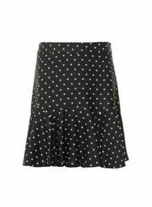 Womens Lola Skye Black Star Print Flounce Skirt, Black