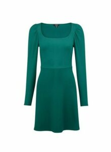 Womens Lola Skye Green Puff Sleeve Skater Dress, Green