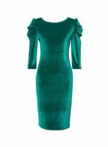 Womens Tall Green Puff Sleeve Velvet Bodycon Dress, Green