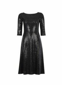 Womens Petite Black Sequin Midi Skater Dress, Black