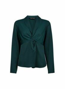 Womens Green Knot Front Top, Green