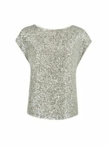 Womens Silver Sequin T-Shirt - White, White
