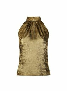 Womens Petite Gold Halter Neck Top, Gold