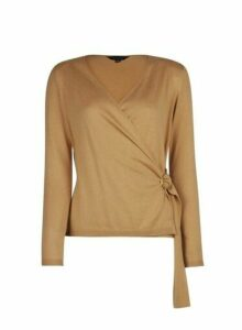 Womens Camel Wrap Ring Detail Jumper- White, White