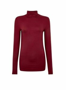 Womens **Tall Burgundy High Neck Top- Red, Red