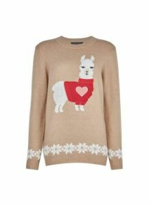 Womens Camel Llama X-Mas Jumper- Brown, Brown