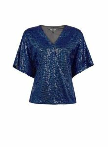Womens **Billie & Blossom Cobalt Foil Batwing Wrap Top, Cobalt