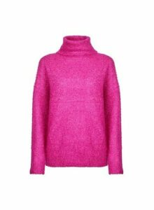 Womens Fuchsia Boucle Roll Neck Jumper- Pink, Pink