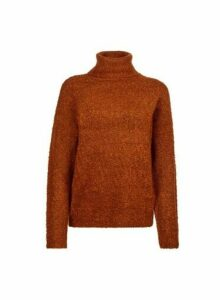 Womens Tobacco Boucle Roll Neck Jumper- Brown, Brown