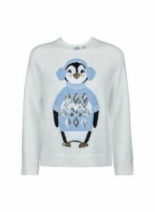Womens Petite Ivory Cosy Penguin Jumper, Ivory