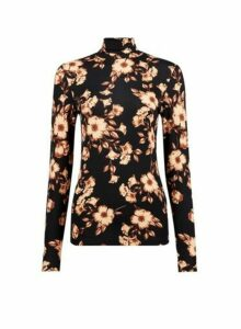 Womens Black Floral Print High Neck Top, Black