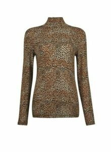 Womens Brown Speckle Print High Neck Top, Brown