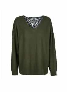 Womens Khaki Brushed Lace Back Jumper- Green, Green