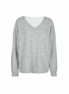 Womens Grey Brushed Lace Back Jumper, Grey