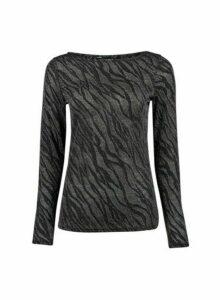 Womens Silver Zebra Mesh Top, Silver