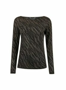 Womens Gold Zebra Mesh Top, Gold